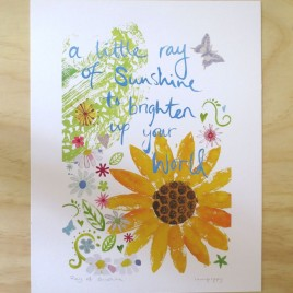 Sunflower print, a little ray of sunshine, colourful flowers with bright yellow sunflower.