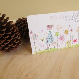 Molly Spring – Greeting card with girl catching butterflies in a flower meadow