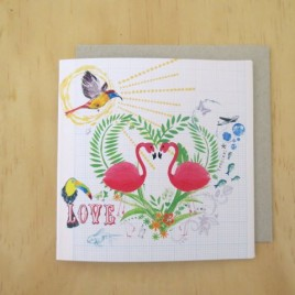 Flamingo Love greeting card with a tropical toucan