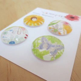 Sunflower magnets with butterfly and floral design