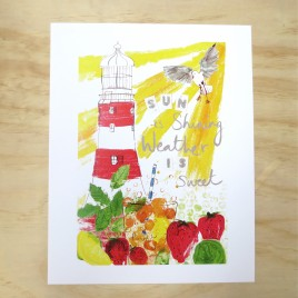 Summer Lighthouse print with pimms and lemonade