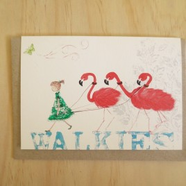 Molly Walkies greeting card with three flamingoes