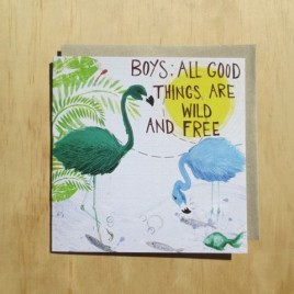 Baby Boy card with two green and blue flamingoes