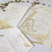 Gold Feather Invites