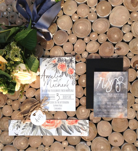 peach and grey floral invitations