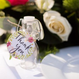Glass jar favours with personalised swing tag