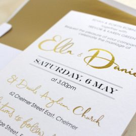 Ella and Daniel Gold Foil Invites