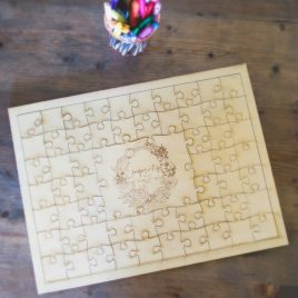 Wooden guest book puzzle